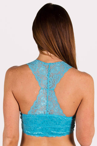 Alexandra Racerback Lace Bralette in Sky Blue or Coral