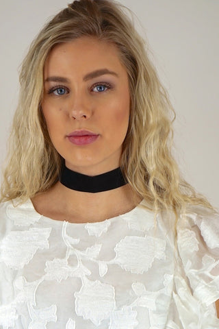 Ettika Finishing Touch Choker in Black Suede and Gold