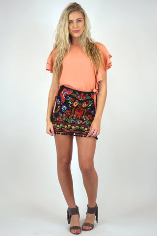 Umgee Embroidered Skirt With Pom Poms