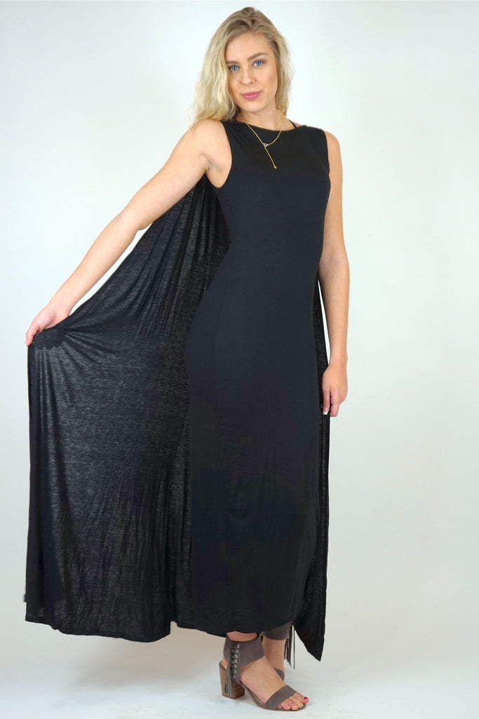 Clara Black Maxi Dress With Cape