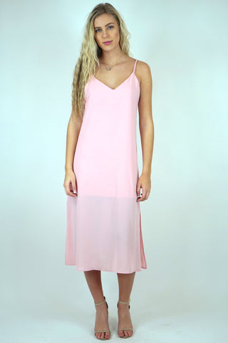 Criss Cross Blush Midi Slip Dress
