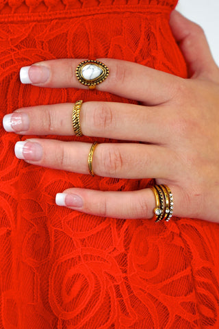 Gypsy Stone Midi Ring Set