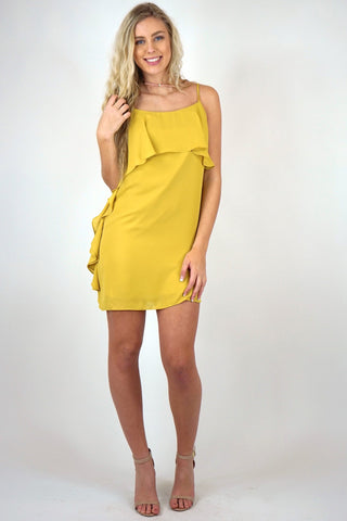 Cascading Ruffle Shift Dress