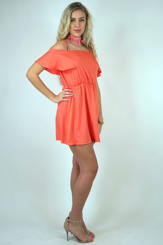 Peach Sorbet Cold Shoulder Dress