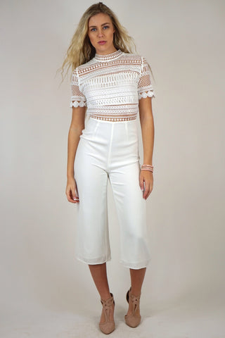 Wide Leg White Crochet Jumpsuit
