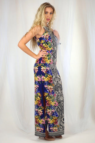 Floral and Paisley Print Maxi Dress