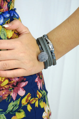 Faux Leather Bracelet With Pom