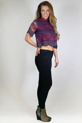 Rosemary Two Tone Lace Crop Top