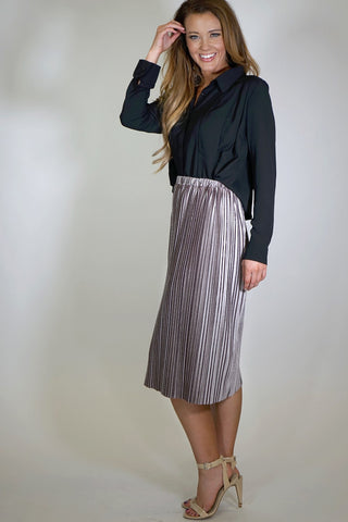 Cropped Pleated Front Blouse