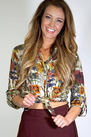Cotton Floral Button Down Shirt