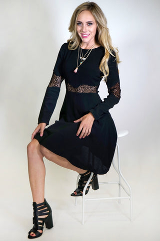 Chyna Long Sleeve Black Dress