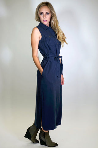 Anya Sleeveless Shirt Maxi Dress