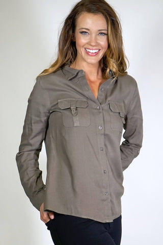 Button Down Military Shirt