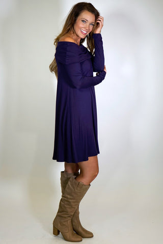 Long Sleeve Knit Fabric Off-the-Shoulder Dress