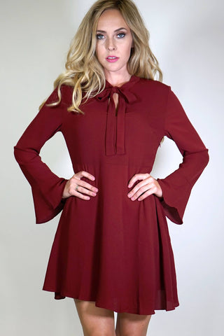 Honey Bell Sleeve Dress with Keyhole