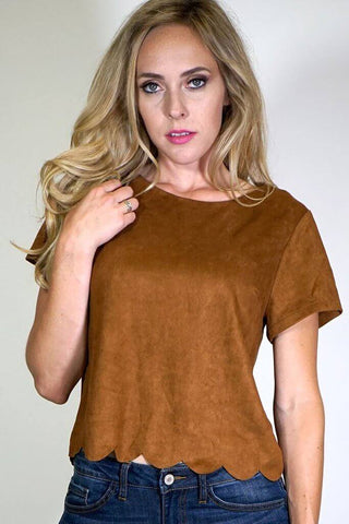Heather Scalloped Faux Suede Top