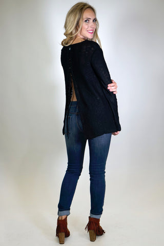 Open Back Lace Up Sweater