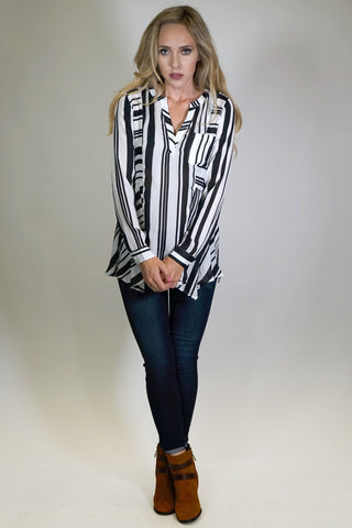 Black and White Stripe Blouse