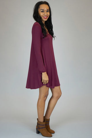 Burgundy Fabric Cross-Front Knit Pocket Short Dresses