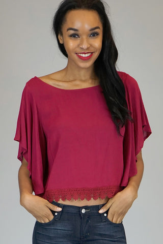 Anita Flutter Sleeve Burgundy Red Top