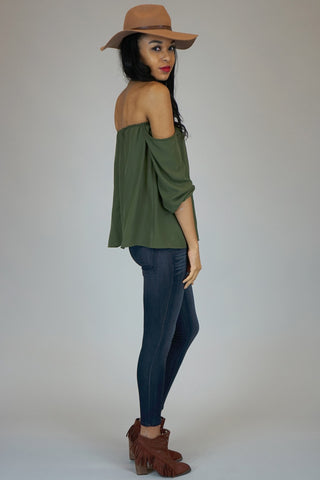 Olive Off The Shoulder Chiffon Blouse