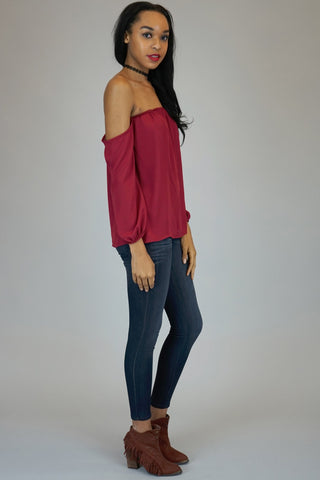 Burgundy Off The Shoulder Chiffon Blouse