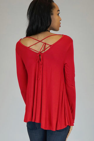 Red Long Sleeve Tunic With Lace Up Back
