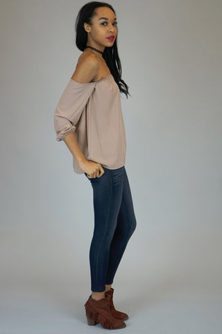 Mocha Off The Shoulder Chiffon Blouse