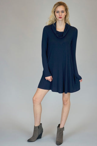 Navy Cowl Neck Dress With Long Sleeves