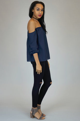 Navy Off The Shoulder Chiffon Blouse