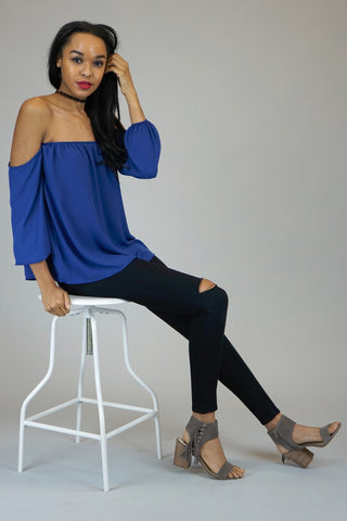 Royal Blue Off The Shoulder Chiffon Blouse