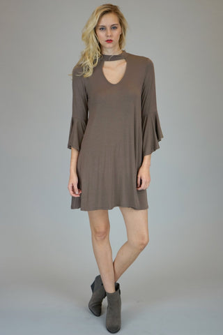 Mocha Mock Neck With Front And Back Key Hole Dress