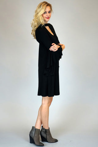 Black Mock Neck With Front And Back Key Hole Dress