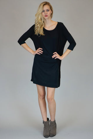 Mittoshop Bamboo Bat Wing Tunic Top In Black