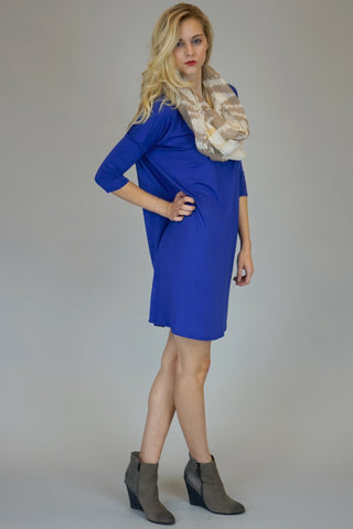 Mittoshop Bamboo Bat Wing Tunic Top In Royal Blue