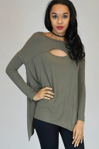 Bamboo Fabric Cutout Front Drop Shoulder Top