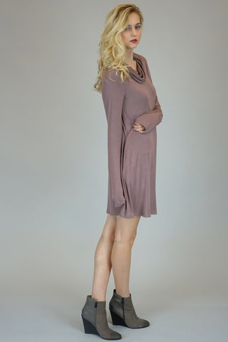 Faded Plum Cowl Neck Dress