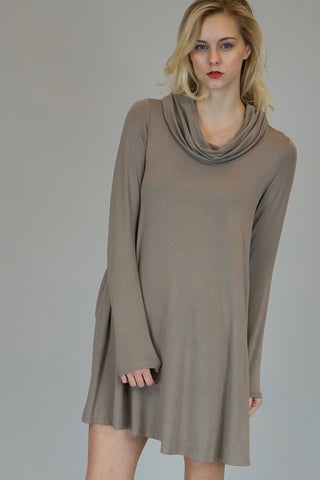 Mocha Cowl Neck Dress With Long Sleeves