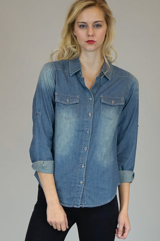 Jenny Dark Wash Chambray Button Down Blouse