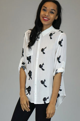 White Blouse with Black Embroidery Details