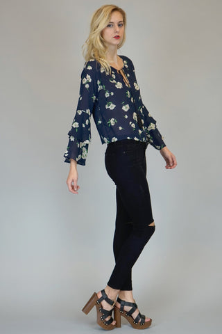 Angela Navy Floral Bell-Sleeve Top