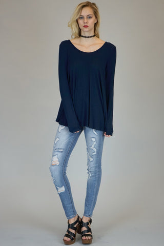 Navy Long Sleeve Tunic With Lace Up Back