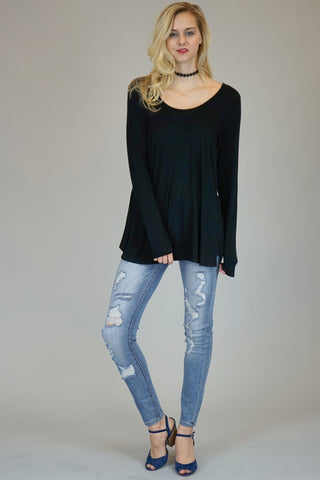Black Long Sleeve Tunic With Lace Up Back