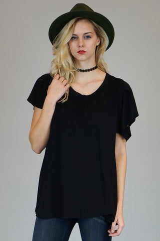 Breanne Black Oversized Flutter Top