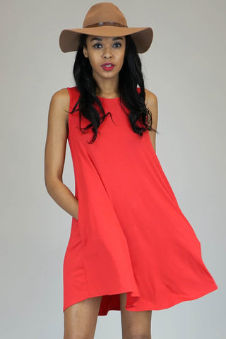 Mittoshop Red Bamboo Sleeveless Swing Dress
