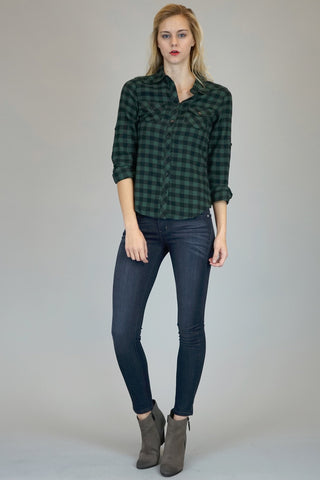 Hunter Green Buffalo Plaid Button Down Flannel