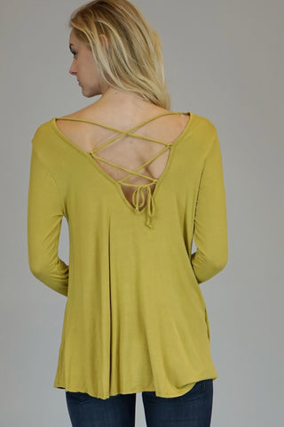 Mustard Long Sleeve Tunic With Lace Up Back