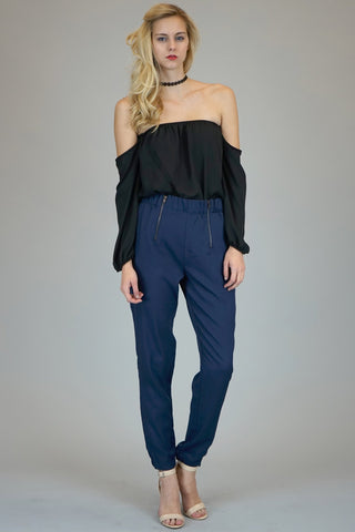 Black Off The Shoulder Chiffon Blouse
