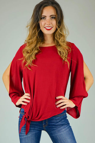 Baylee Wine Cut-Out Sleeve Tie Blouse