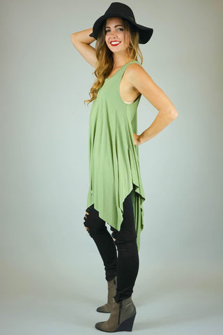 Dusty Olive Bamboo Fabric Pointed Hem Top